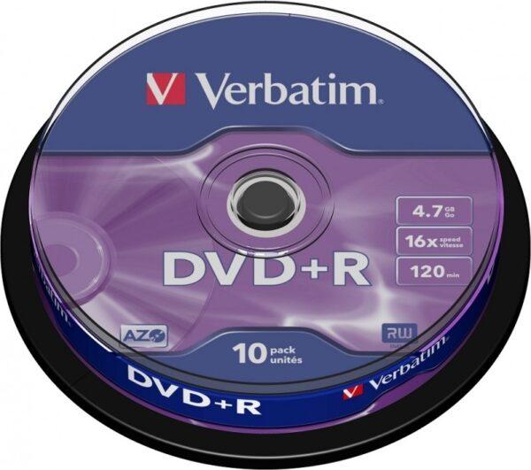 "DVD+R VERBATIM 4.7GB, 120min, viteza 16x, 10 buc, Single Layer, spindle, ""Matt Silver"" ""43498"" 951763"