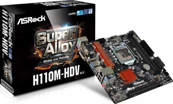 Placa de baza ASROCK skt. LGA1151, H110M-HDV R3.0, pt. Intel 7th/ 6th Gen., chipset H110, 2 x DDR4, max.32GB 2133MHz, video onboard, mATX