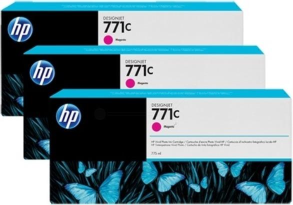 "Tri-Pack Original HP Magenta, nr.771C, pentru DesignJet Z6200, , incl.TV 0.11 RON, ""B6Y33A"""