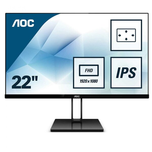 """MONITOR AOC 21.5″, home, office, IPS, Full HD (1920 x 1080), Wide, 250 cd/mp, 5 ms, HDMI, DisplayPort, """"22V2Q"""" (include TV 5 lei)"""