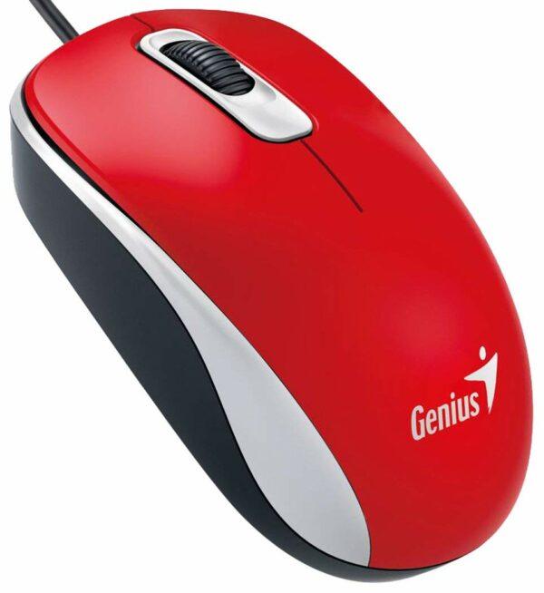 "MOUSE GENIUS PC sau NB, cu fir, USB, optic, 1000 dpi, butoane/scroll 3/1, rosu, ""DX-110"" ""31010116104"""