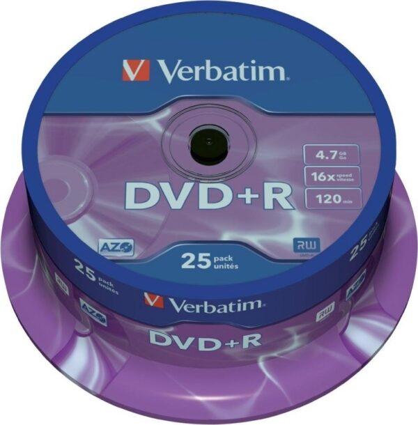 "DVD+R VERBATIM 4.7GB, 120min, viteza 16x, 25 buc, Single Layer, spindle, ""Matt Silver"" ""43500"""