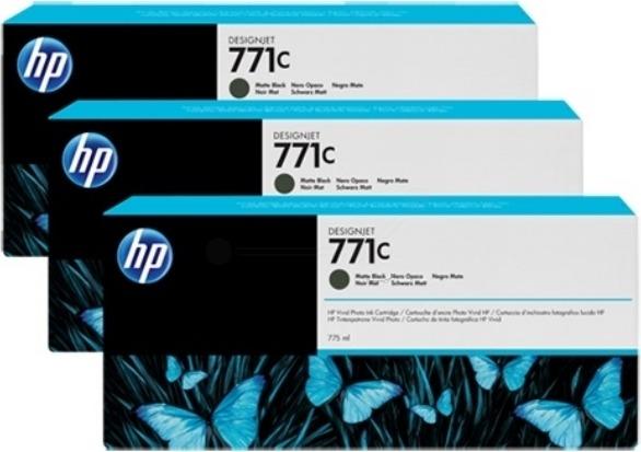 """Tri-Pack Original HP Matte Black, nr.771C, pentru DesignJet Z6200, , incl.TV 0.11 RON, """"B6Y31A"""""""