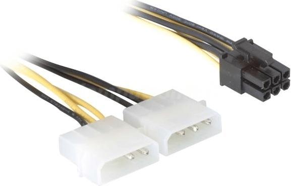 """CABLU alimentare GEMBIRD, adaptor Molex la PCI-E, 2 x Molex la 1 x 6 pin PCI-E, """"CC-PSU-6"""" (include TV 0.06 lei)"""