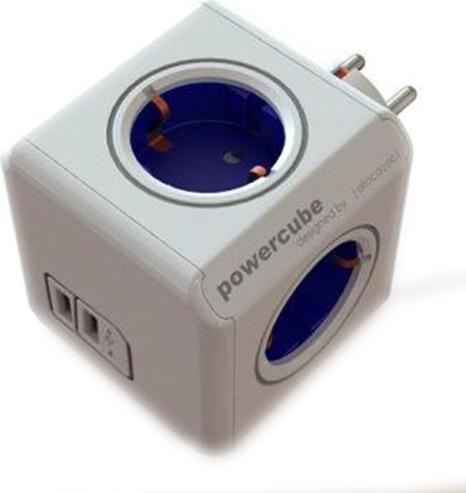 """PRIZA ALLOCACOC, Schuko x 4, conectare prin Schuko (T), USB x 2, 10 A, alb/ albastru, """"SPP1704"""""""