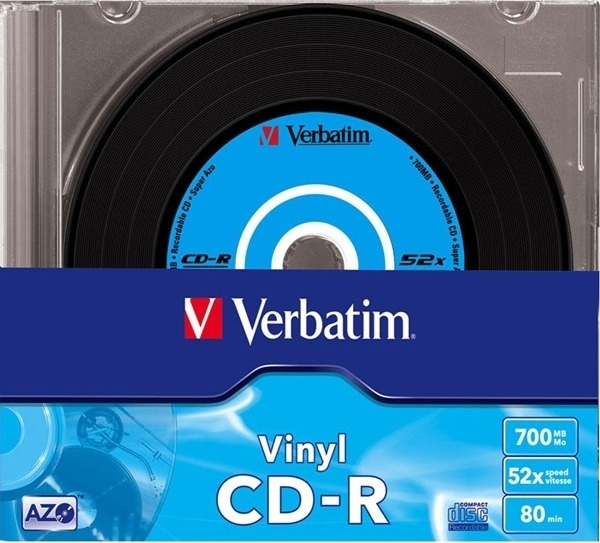 """CD-R VERBATIM 700MB, 80min, viteza 52x, 10 buc, carcasa, """"AZO Data Vinyl"""" """"43426"""""""