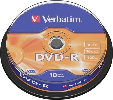 "DVD-R VERBATIM 4.7GB, 120min, viteza 16x, 10 buc, Single Layer, spindle, ""Matt Silver"" ""43523"" 951762"