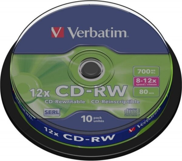 "CD-RW VERBATIM 700MB, 80min, viteza 8-12x, 10 buc, spindle, ""43480"""