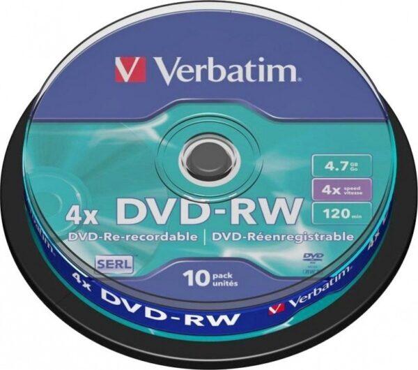 "DVD-RW VERBATIM 4.7GB, 120min, viteza 4x, 10 buc, Single Layer, spindle, ""Matt Silver"" ""43552"""