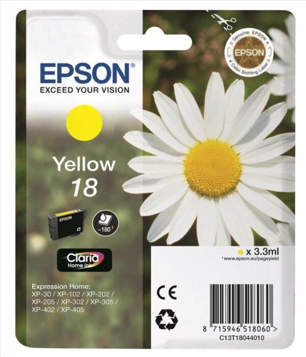 "Cartus Cerneala Original Epson Yellow, T1804, pentru XP102|202|205|302|305|402|405, , incl.TV 0.11 RON, ""C13T18044010"""