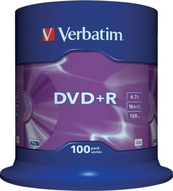 "DVD+R VERBATIM 4.7GB, 120min, viteza 16x, 100 buc, Single Layer, spindle, ""Matt Silver"" ""43551"""