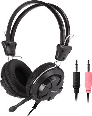 """CASTI A4tech, """"ComfortFIt"""", cu fir, standard, utilizare multimedia, microfon pe brat, conectare prin Jack 3.5 mm x 2, negru, """"HS-28-1"""", (include TV 0.75 lei)"""