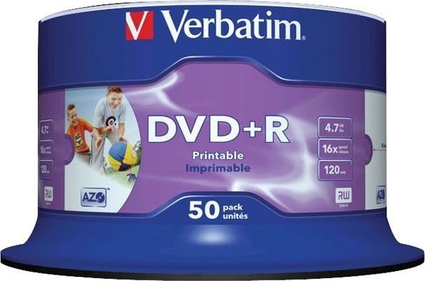 "DVD+R VERBATIM 4.7GB, 120min, viteza 16x, 50 buc, Single Layer, spindle, printabil, ""Wide Inkjet Printable"" ""43512"""