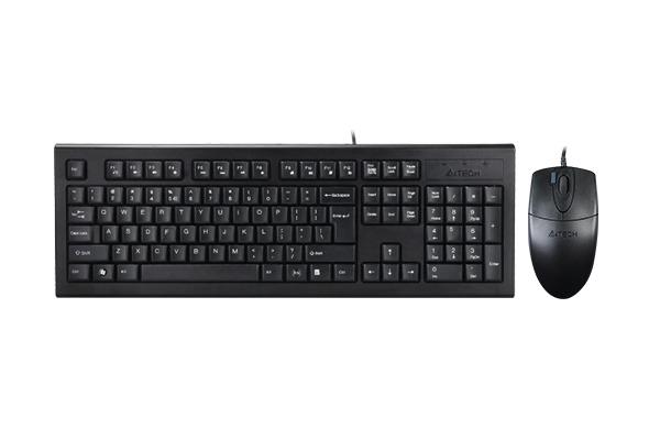 """Kit TASTATURA si Mouse A4TECH, """"KR-85+OP-620D"""", cu fir, 104 taste format standard, mouse 1000dpi, 4/1 butoane, negru, """"KR-8520D-USB"""" (include TV 0.75 lei)"""