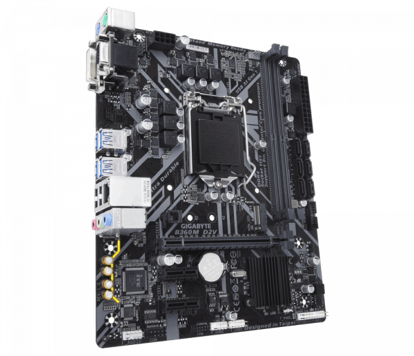 Placa de baza GIGABYTE skt. LGA1151, B360M D2V, 2*DDR4 2666/2400/2133MHz, 1x D-Sub/DVI-D, 1x PCIe x16, 2x PCIe x1 Slot, 6x SATA 6Gb/s, 1x Gigabit LAN 10/100/1000, 6x USB 3.1, 6x USB 2.0, mATX