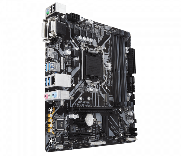 Placa de baza GIGABYTE skt. LGA1151, B360M DS3H, 4*DDR4 2666/2400/2133MHz, 1x D-Sub/DVI-D/HDMI, 1x PCIe x16, 1x PCIe x1 Slot, 1x PCI Express x4 slot, 6x SATA 6Gb/s, 1x Gigabit LAN 10/100/1000, 6x USB 3.1, 6x USB 2.0, mATX