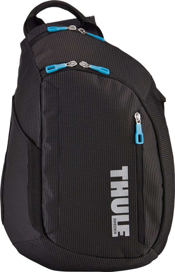 "RUCSAC sling (o bretea) THULE, pt. notebook de max. 13 inch, 1 compartiment, buzunar frontal x 2 | buzunar lateral | buzunar pe bretea, waterproof, nylon, negru, ""TCSP-313 BLACK"""
