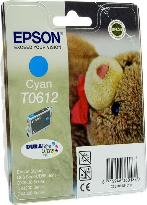 """Cartus Cerneala Original Epson Cyan, T0612, pentru D88 D68PE DX4800 DX4850 DX4200 DX4250 DX3800 DX3851, , incl.TV 0.11 RON, """"C13T06124010"""""""