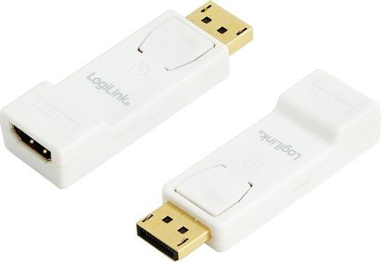 "ADAPTOR video LOGILINK, DisplayPort (T) la HDMI (M), conectori auriti, rezolutie maxima Full HD (1920 x 1080) la 30 Hz, alb, ""CV0057"" (include TV 0.15 lei)"