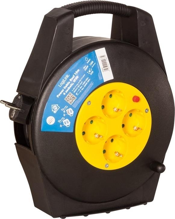 "PRELUNGITOR LOGILINK, Schuko x 4, conectare prin Schuko (T), cablu 15 m, 14 A, protectie copii, negru/ galben, ""LPS501"""