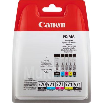 "Combo-Pack Original Canon CMYKPB, PGI-570B/CLI-571, pentru Pixma MG5750|MG5751|MG6850|MG6851|MG7750|MG7751|MG7752|TS5050|TS5051|TS5053|TS5055|TS6050|TS8050|TS9050, , incl.TV 0.11RON, ""BS0372C004AA"""