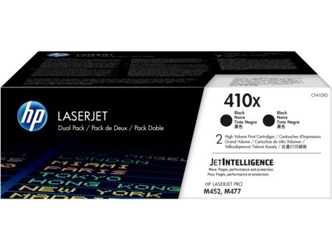 "Dual-Pack Original HP Black, nr.410X, pentru LJ Pro M377DW LJ Pro M452DN LJ Pro M452NW LJ Pro M477FDN LJ Pro M477FDW LJ Pro M477FNW, 2×6.5K, incl.TV 0.55RON, ""CF410XD"""