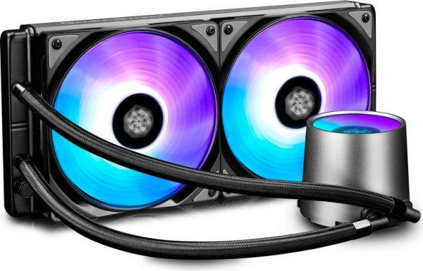 "COOLER DeepCool CPU universal. cu LICHID. soc LGA20xx/1366/115x & AMx/FMx, AL+Cu+lichid, 2x 140 RGB fans, 150W, ""CASTLE 280 RGB"""