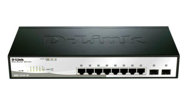 """SWITCH D-LINK SMART 8 porturi Gigabit + 2 sloturi SFP, carcasa metalica, rackabil, """"DGS-1210-10"""""""