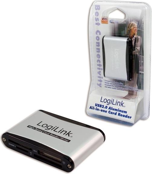 "CARD READER extern LOGILINK, interfata USB 2.0, citeste/scrie: SD, micro SD, MMC, MS; aluminiu, argintiu & negru, ""CR0001B"" (include TV 0.15 lei)"