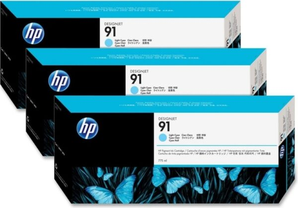 "Tri-Pack Original HP Light Cyan, nr.91, pentru DesignJet Z6100, , incl.TV 0.11 RON, ""C9486A"""