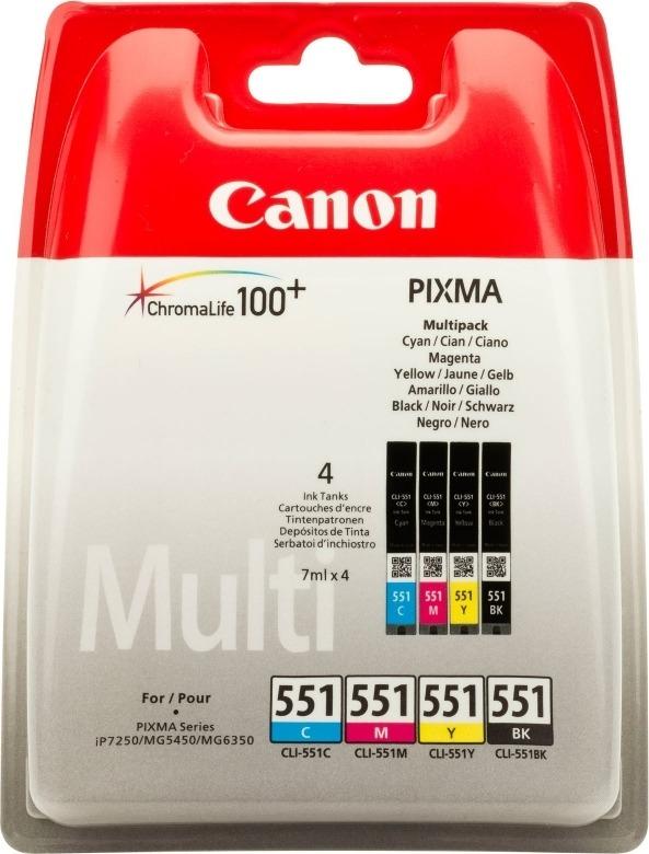 "Combo-Pack Original Canon CMYK, CLI-551CMYK, pentru Pixma IP-7250 8750 IX-6850 MG-5450 5550 5650 6350 6450 6650 7150 7550 MX-725 925, 7ml, incl.TV 0.11 RON, ""BS6509B009AA"""