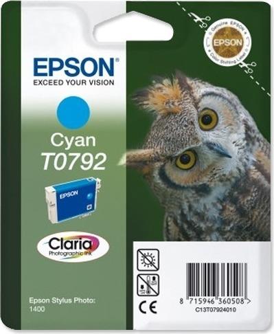 """Cartus Cerneala Original Epson Cyan, T0792, pentru Stylus Photo 1400, , incl.TV 0.11 RON, """"C13T07924010"""""""