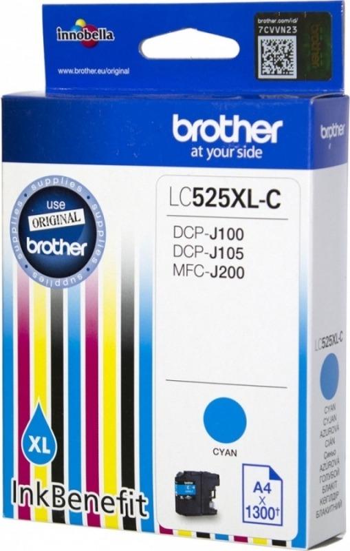 "Cartus Cerneala Original Brother Cyan, LC525XLC, pentru DCP-J100|J105|MFC-J200, 1.3K, incl.TV 0.11 RON, ""LC525XLC"""