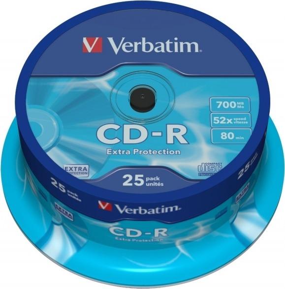 """CD-R VERBATIM 700MB, 80min, viteza 52x, 25 buc, spindle, """"43432"""""""