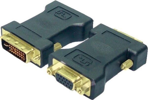 "ADAPTOR video LOGILINK, DVI-I DL (T) la VGA (M), conectori auriti, negru, ""AD0001"" (include TV 0.15 lei)"