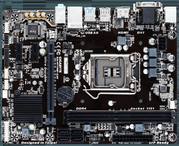 Placa de baza GIGABYTE skt. LGA1151, H110M-S2H, Intel H110, 2 *DDR4, 1*PCIEx16, 2*PCIEx1, VGA/HDMI/DVI, 4*SATA3, 6CH, GigabitLAN, 4 *USB3.0, 8*USB2.0, mATX