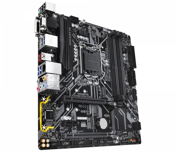 Placa de baza GIGABYTE skt. LGA1151, H370M D3H GSM, 4*DDR4 2666/2400/2133MHz, 1x HDMI/DVI-D/D-Sub, 2x PCIe x16, 1x PCIe x1 Slot, 6x SATA 6Gb/s, LAN 10/100/1000, 7x USB 3.1, 6x USB 2.0, mATX