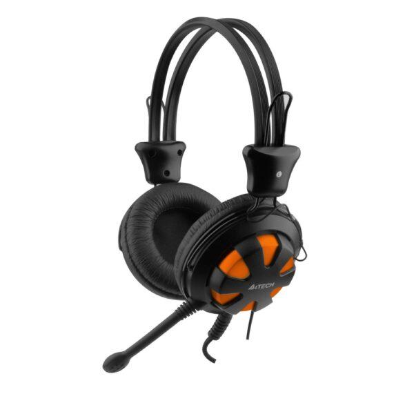 """CASTI A4TECH cu microfon pe fir, Comfortfit, control volum pe casca, orange """"HS-28-3"""""""