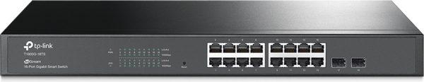 SWITCH TP-LINK WEB SMART 16 porturi Gigabit + 2 sloturi SFP, carcasa metalica, rackabil T1600G-18TS(TL-SG2216)