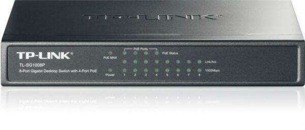 "SWITCH PoE TP-LINK 8 porturi Gigabit (4 PoE), IEEE 802.3af, carcasa metalica ""TL-SG1008P"""