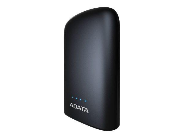 """POWER BANK ADATA 10050mAh, 2 x USB, 4 x LED pt. status baterie, P10050V 10.050 mAh, total 2.4A, lanterna LED, black """"AP10050V-DUSB-CBK"""" (include TV 0.75 lei)"""