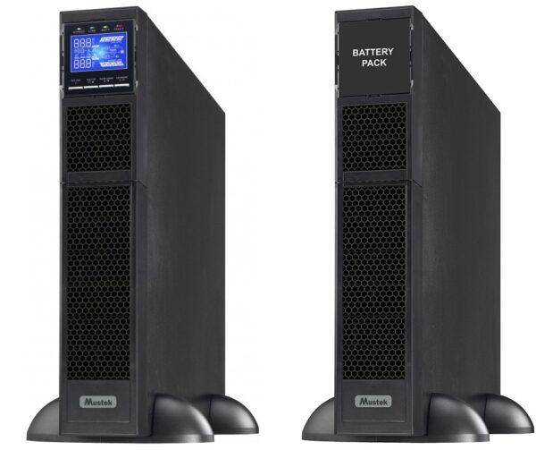 "UPS MUSTEK Online cu Sinusoida Pura, rack, 6000VA/ 6000W, AVR, iesire Terminal Block, display LCD, 16 x baterie 12V/7Ah, Backup >4min,incarc.9h, USB,RS232, dubla conversie,rack.2U, bloc de baterii externe, ""6000-LCD-ON-R20"" (include TV 23 lei)"