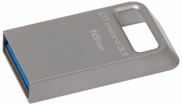 "MEMORIE USB 3.1 KINGSTON 16 GB, profil mic, carcasa metalic, argintiu, ""DTMC3/16GB"""
