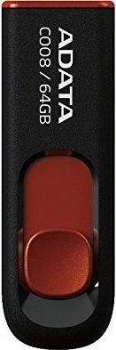 """MEMORIE USB 2.0 ADATA 64 GB, retractabila, carcasa plastic, negru / rosu, """"AC008-64G-RKD"""" (include TV 0.02 lei)"""
