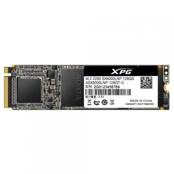 """SSD ADATA, XPG SX6000 Lite, 128 GB, M.2, PCIe Gen3.0 x4, 3D TLC Nand, R/W: 1800/600 MB/s, """"ASX6000LNP-128GT-C"""""""
