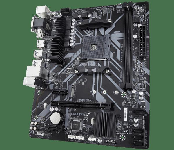 """Placa de baza GIGABYTE skt. AM4, B450M S2H, AMD B450, 2x DDR4 3200 (O.C.) MHz, 1x DVI-D/ HDMI, 1x PCI E x16 slot at x16, 1x PCI E x16 at x4, 1x PCI E x1, 4x SATA, 2x USB 3.1, 8x USB 2.0/1.1, Realtek GbE LAN chip (10/100/1000), Micro ATX """"B450M S2H"""""""