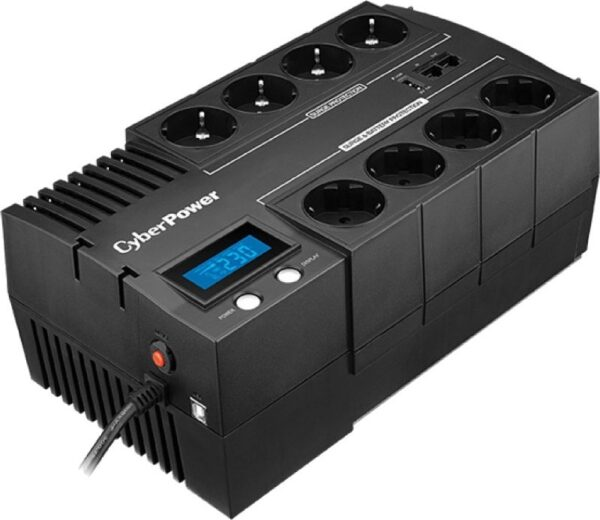 "UPS CYBER POWER Line Int. cu management, LCD, brick, 1200VA/ 720W, AVR, 8 x socket Shucko, display LCD, 2 x baterie 12V/5.8Ah, Backup 51-80min, incarc.8h, USB, USB Charger Port, combo RJ45, GreenPower (Energy Saving), ""BR1200ELCD"" (include TV 8 lei)"