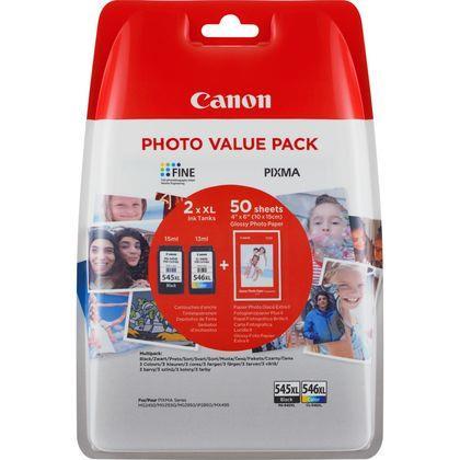 "Combo-Pack Original Canon Black/COlor, PG-545XL/CL-546XL, pentru Pixma IP2850|MG2450|MG2455|MG2550|MG2550S|MG2950|MG3050|MG3051|MG3052|MG3053|MX495 Black|MX495 White|TR4550|TS205|TS305|TS3150|TS315, , incl.TV 0.11 RON, ""BS8286B006AA"""