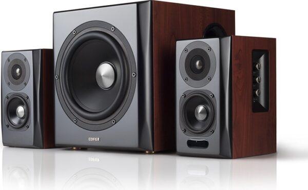 "BOXE EDIFIER 2.1, RMS: 150W (2 x 25W, 2 x 15W, 1 x 70W), bluetooth telecomanda wireless, volum, bass, treble, optical, brown, ""S350DB"" (include TV 8 lei)"