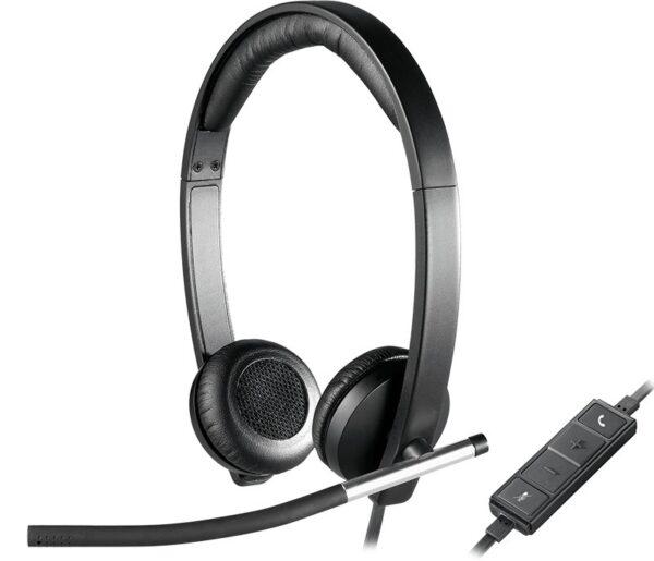 "CASTI Logitech, ""H650e"", cu fir, standard, utilizare call center, microfon pe brat, conectare prin USB 2.0, negru, ""981-000519"", (include TV 0.75 lei)"